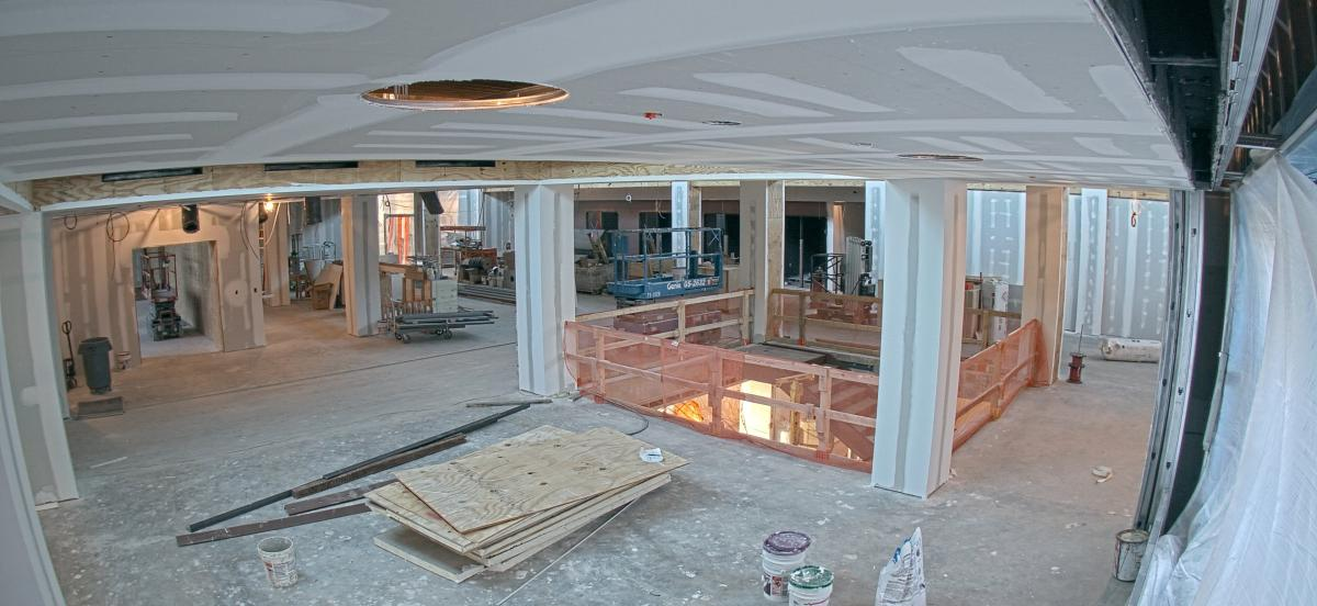 Interior of the library under construction, with the ceiling of the room now installed.