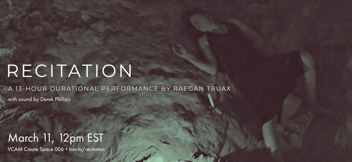 artist Raegan Truax sprawled across a rocky, shadowy landscape