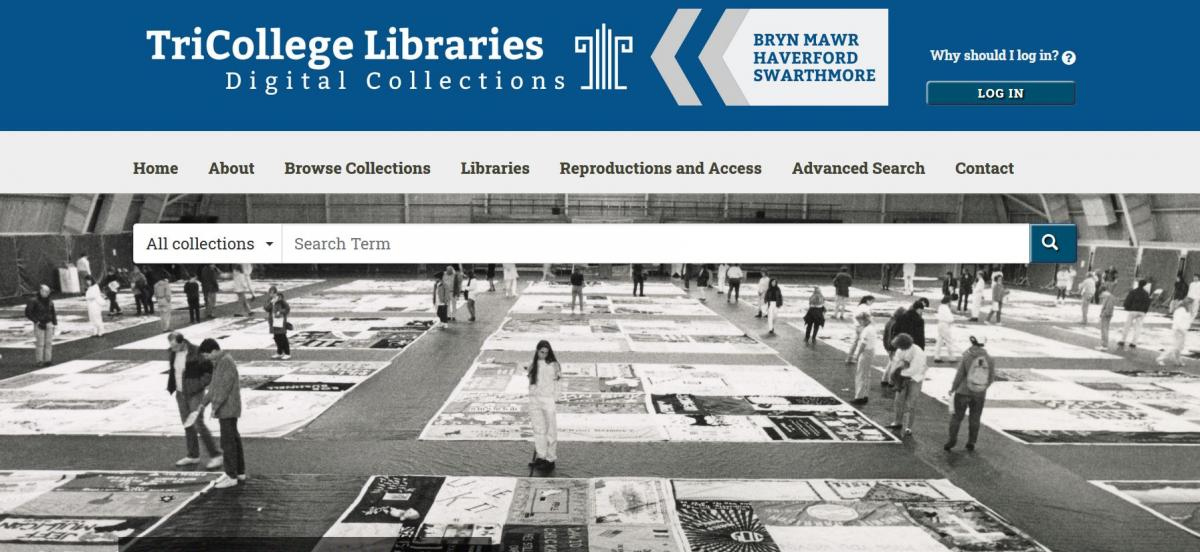 screenshot of the digital collections homepage