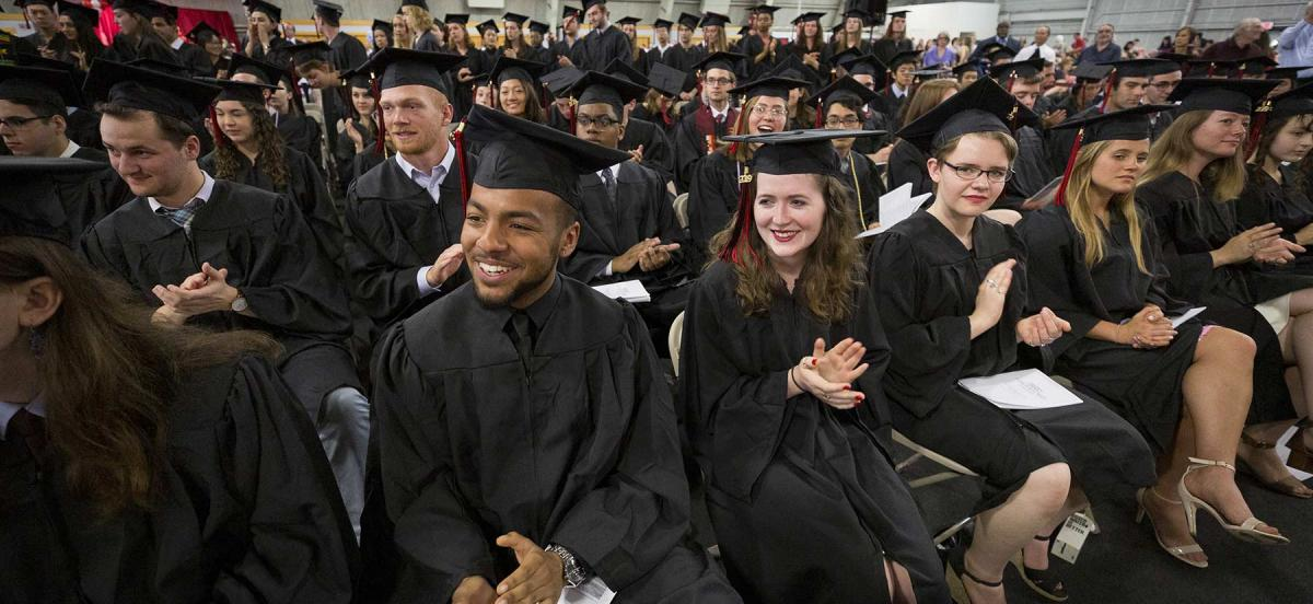 Students in graduation regalia during commencement