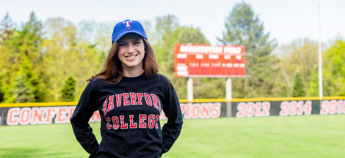 Charlotte Eisenberg '19 poses on the baseball field