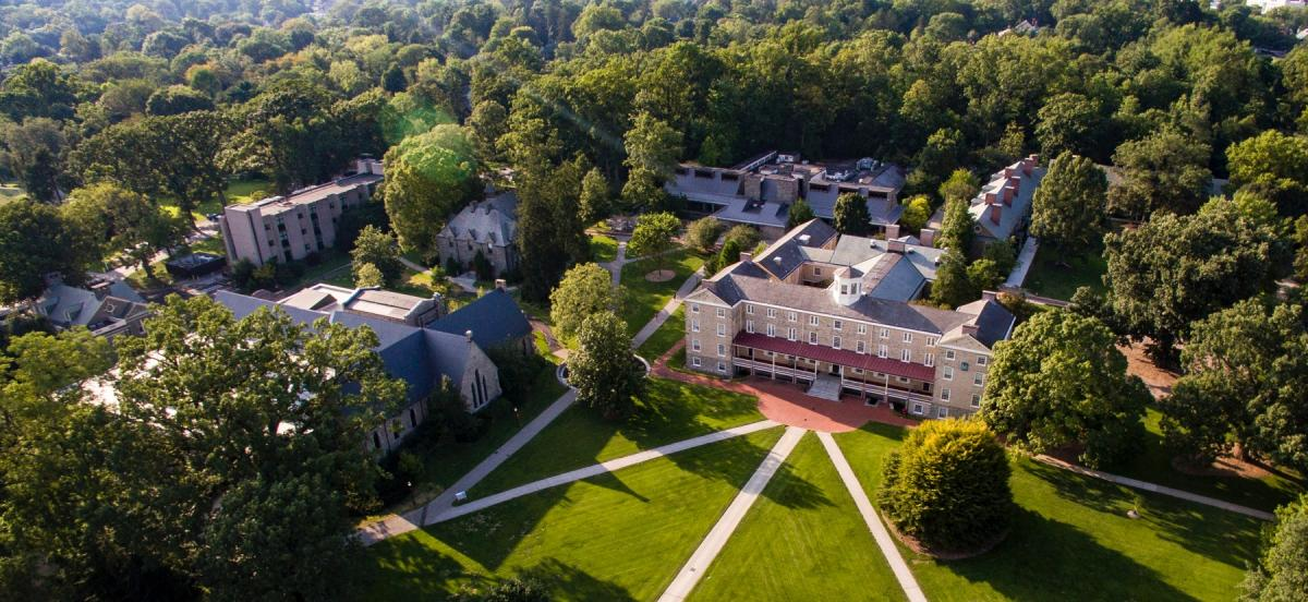 Aerial view of Founders Hall