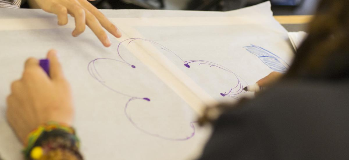 Students participant in an in-class drawing exercise