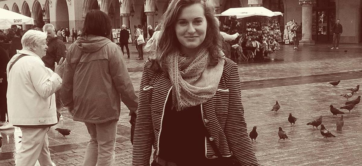 Sophia Gant standing in an open bazaar