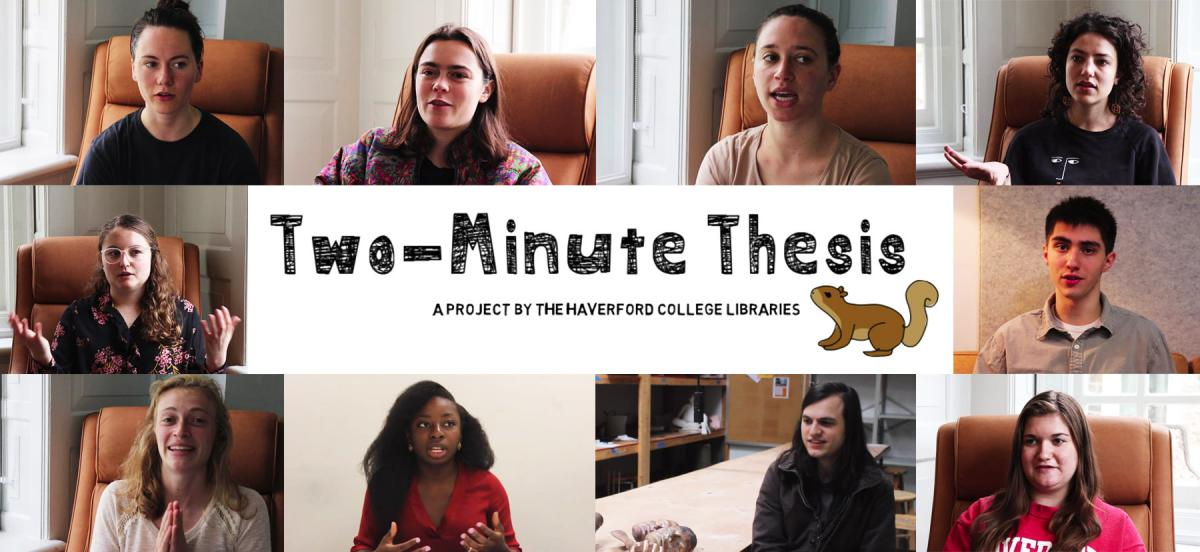 Composite of students' talking about their thesis projects