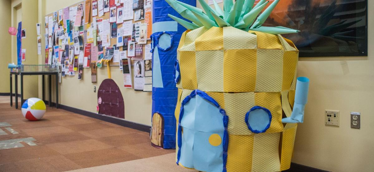 Paper models of Sponebob Squarepants's pineapple home decorate the KINSC