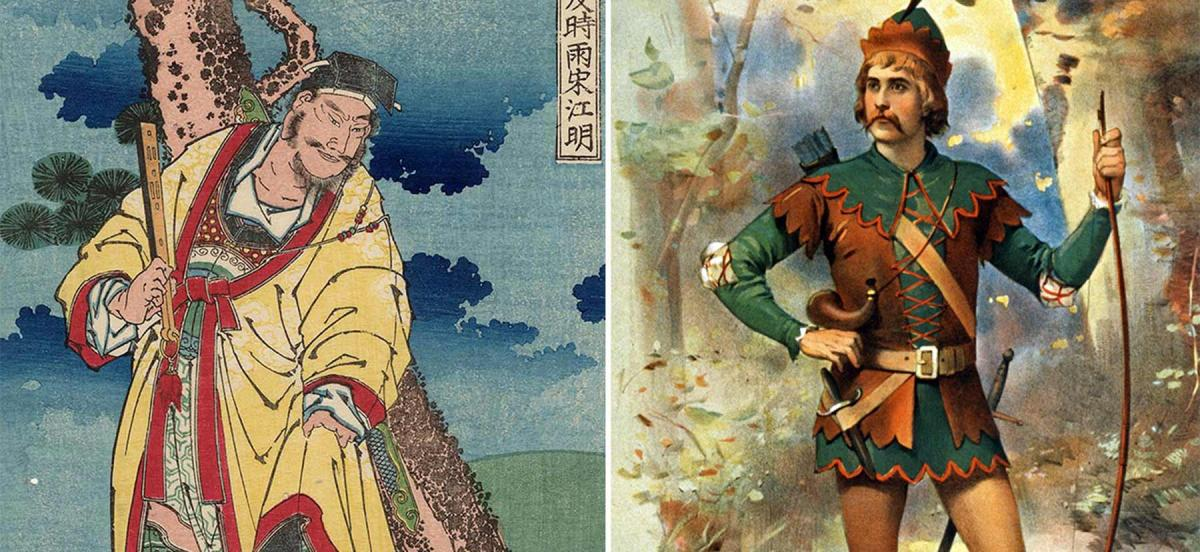 Illustration of Song Jiangming and a poster featuring Robin Hood