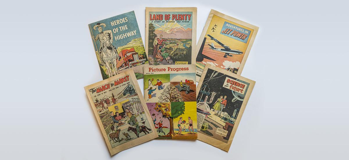 A collection of promotional and educational comic books
