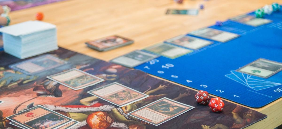 cards setup to play Magic:The Gathering