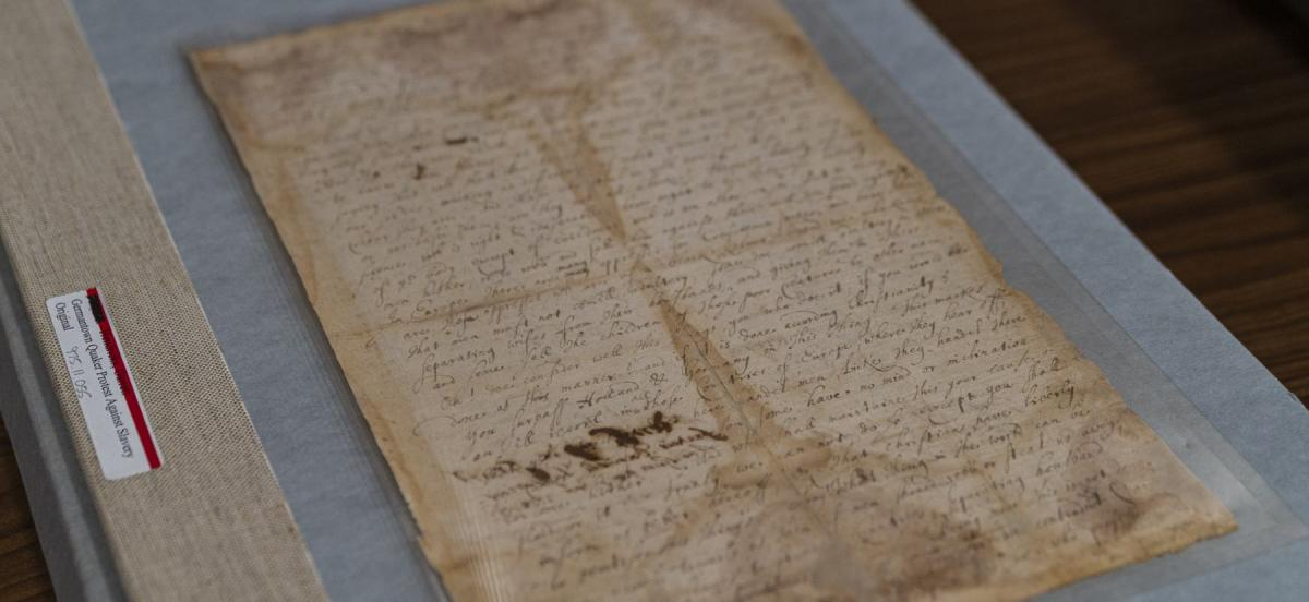 Photo of documents of Germantown Quaker protests against slavery