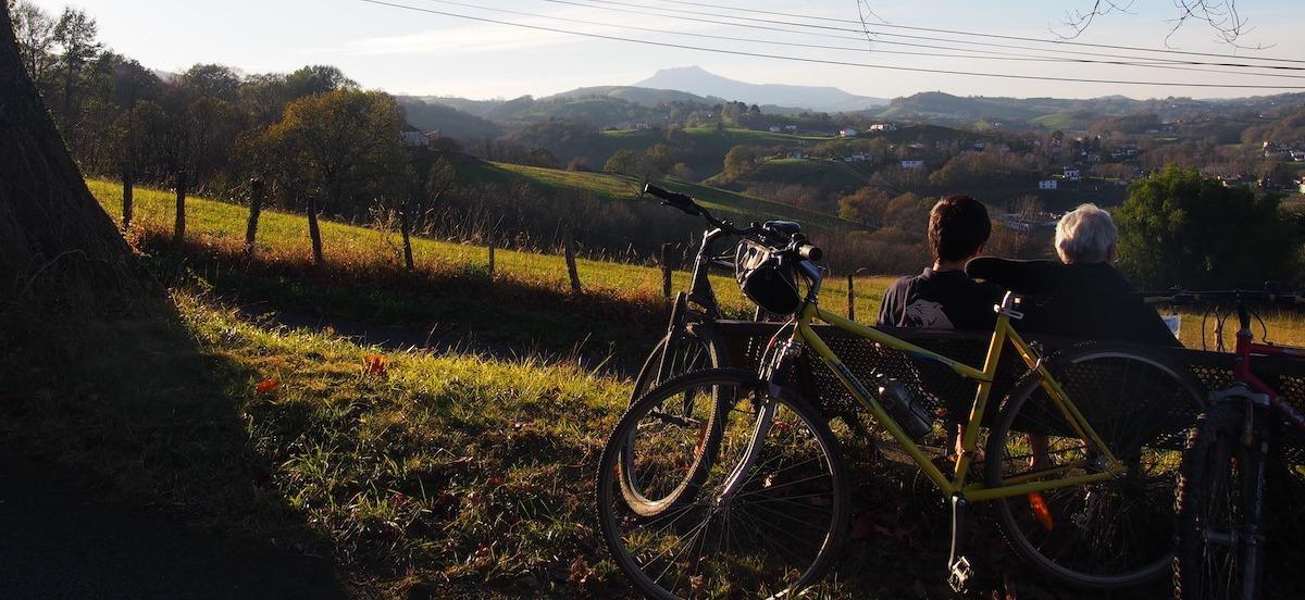 Two people overlooking Pyrenees