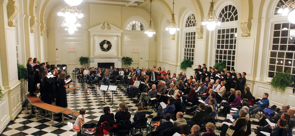 A concert being preformed in the Great Hall