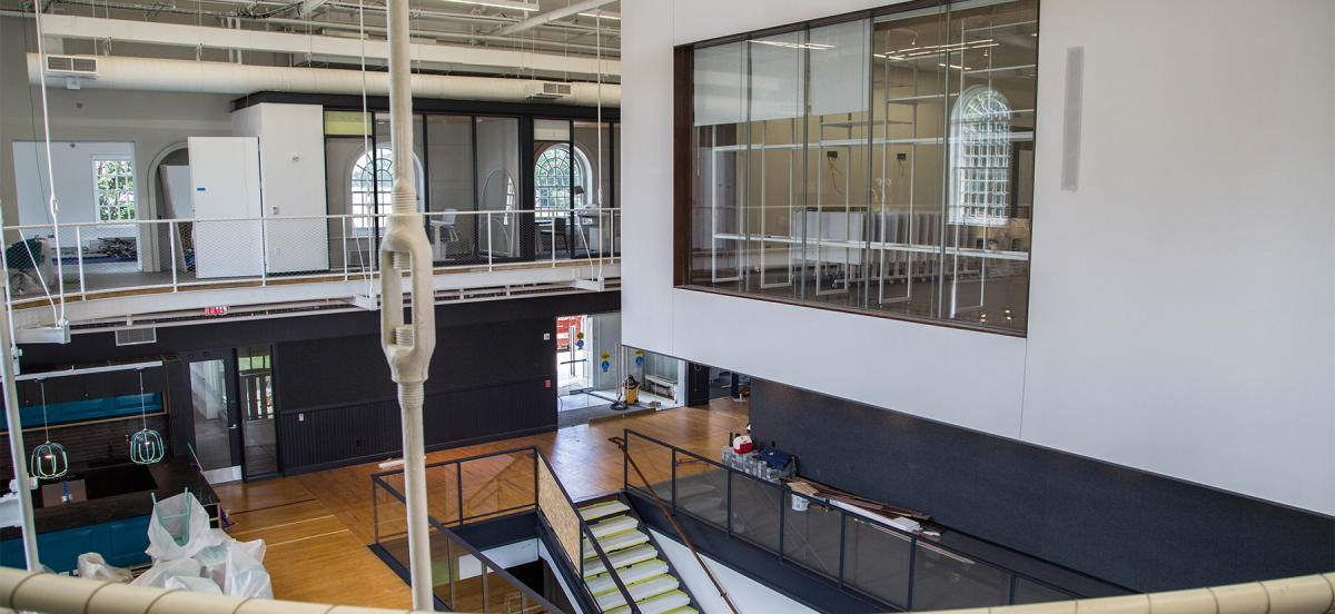 Interior shot of building showing two floors