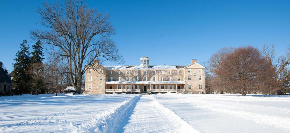 A snowy campus scene
