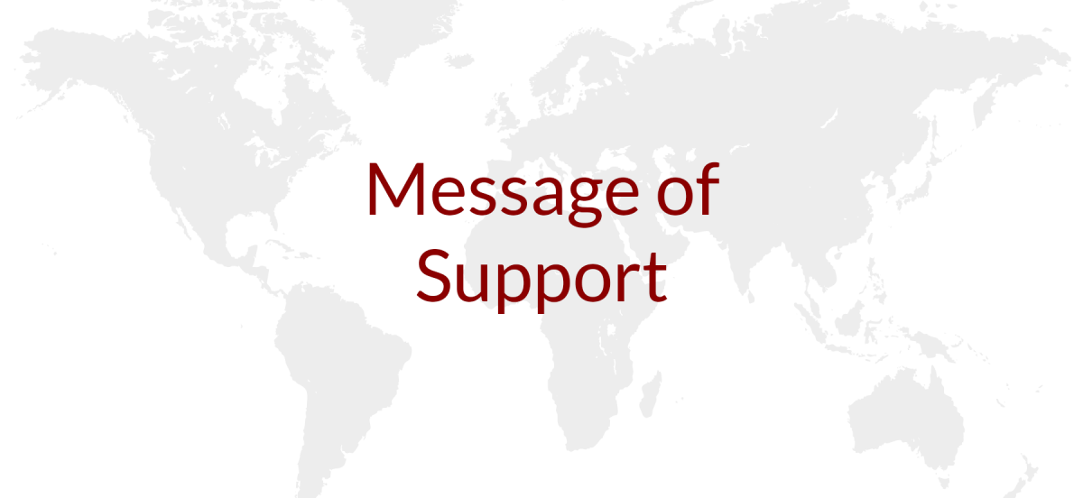 Message of Support written atop a world map