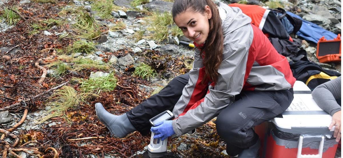 Alexandra Morrison takes samples in Alaska
