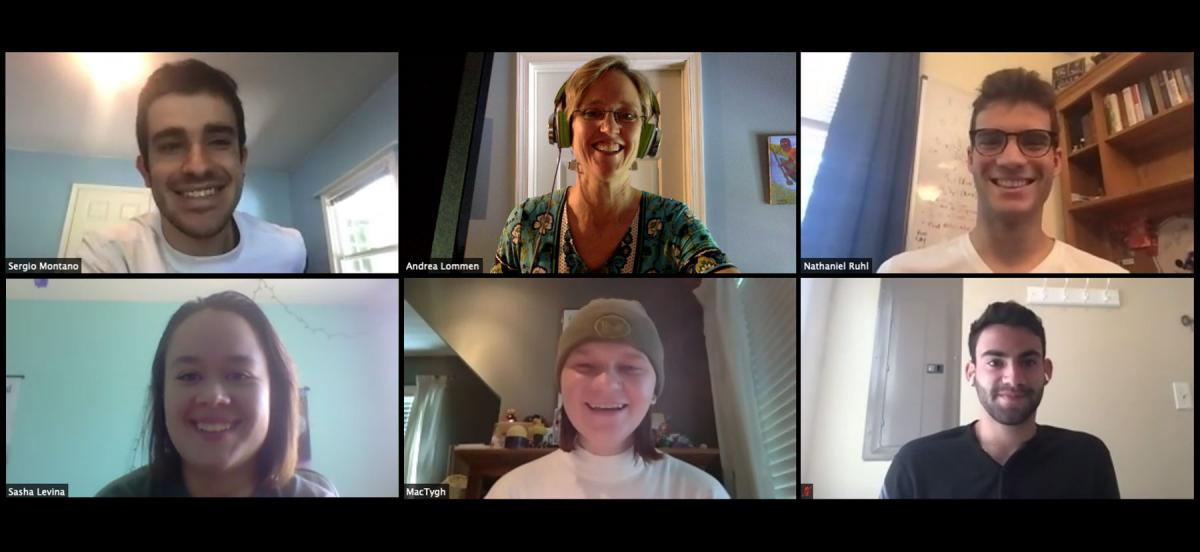 A Zoom grid of Andrea Lommen and five of the six students working remotely in her lab this summer.