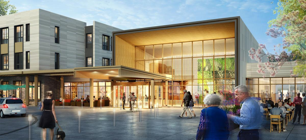 A rendering of the entrance and outdoor plaza of the Baldwin, a 250-unit assisted senior living community, is part of a mixed-use development that includes housing and retail and is designed to encourage inter-generational contact.