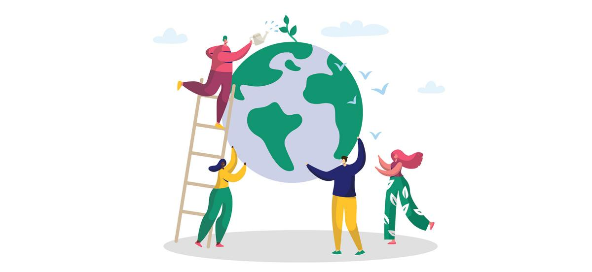 An illustration of two people holding up the world while another person on a ladder waters its greenery