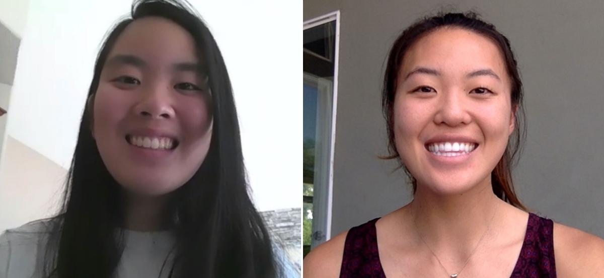 Portraits of Margaret Chen and Sara Matsumura in a Zoom grid