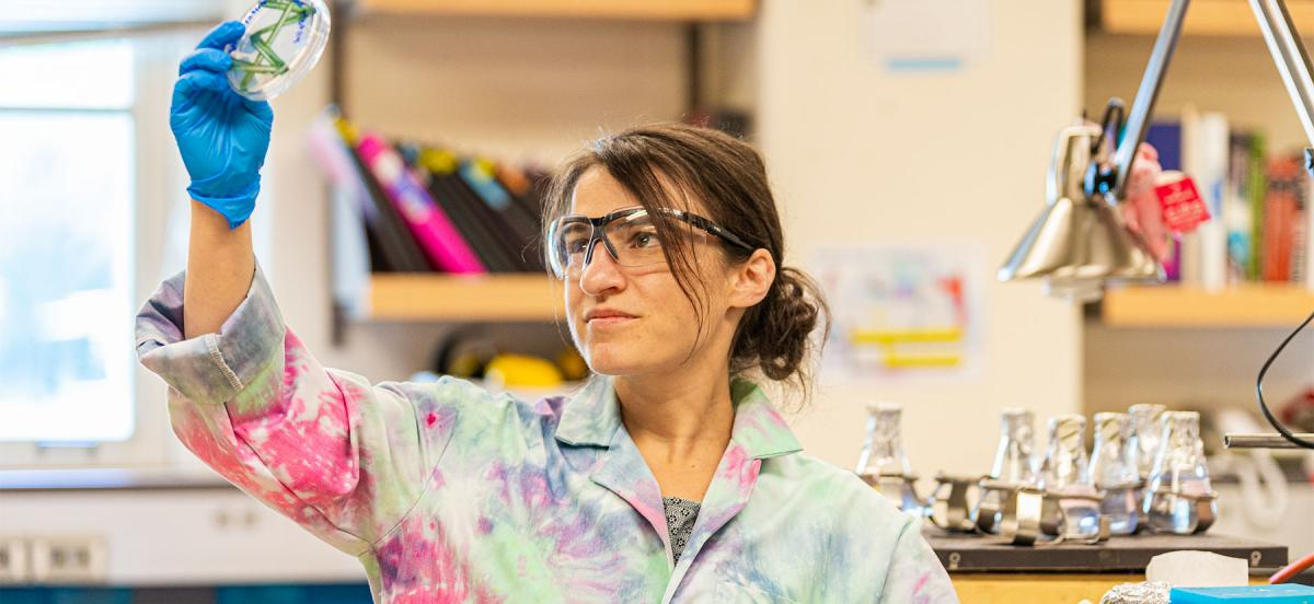 Lou Charkoudian in her lab