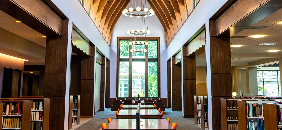 The soaring ceilings and light-filled rooms of Lutnick Library