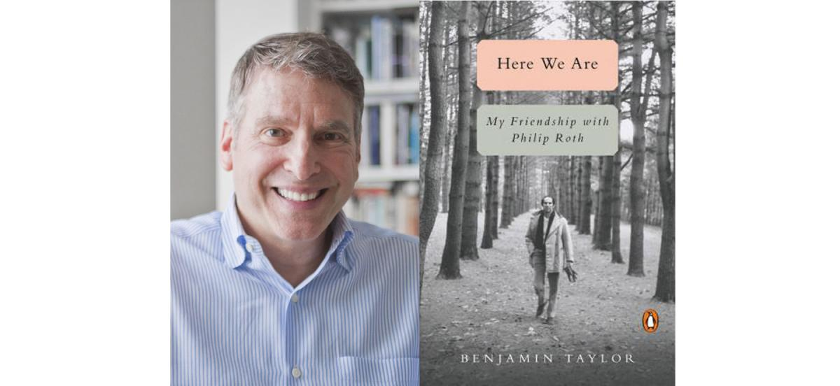 "A headshot of Benjamin Taylor next to the cover of his book, ""Here We Are"""