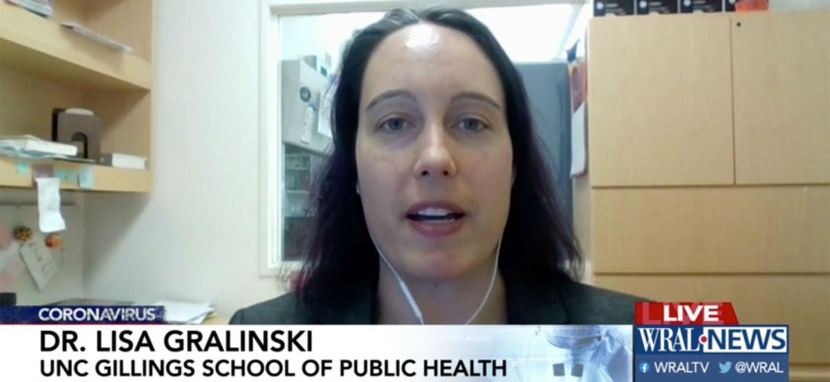 Lisa Gralinski being interviewed virtually on WRAL TV news