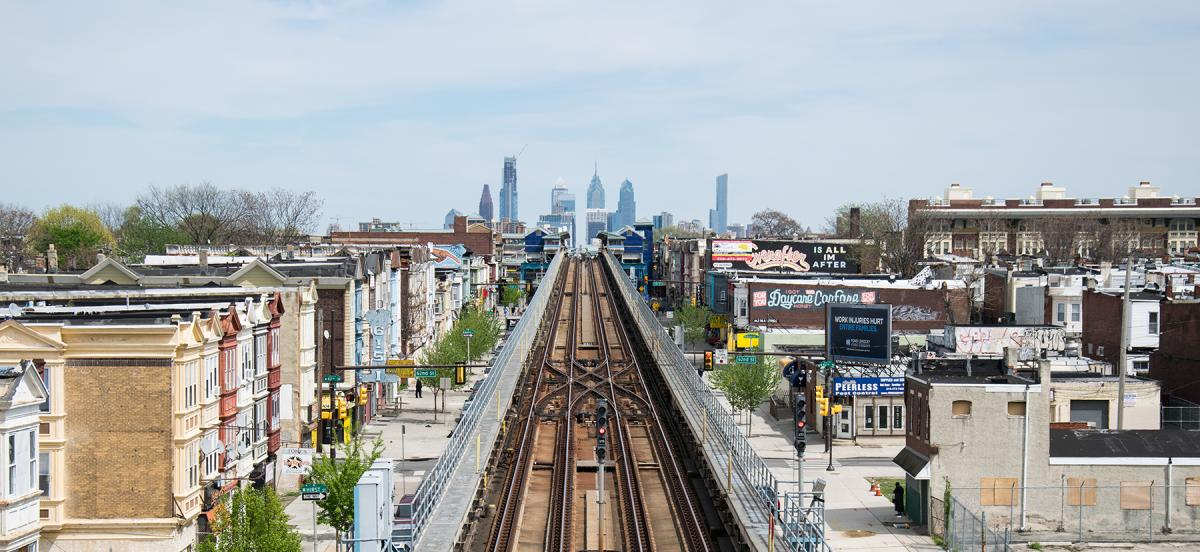 Heading into Center City from the west via train with the skyline of Philadelphia in the distance