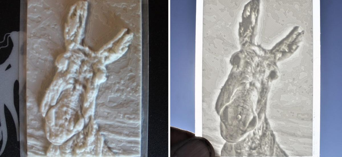 side by side of reference image and 3d relief sculpture