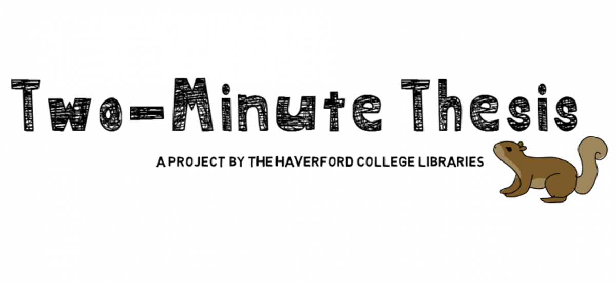 hand drawn block text reading Two-Minute Thesis: a project by Haverford College Libraries, and a cartoony brown squirrel