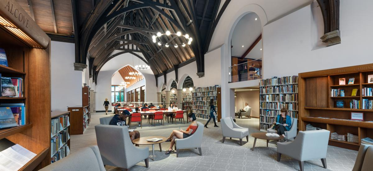 interior photo of Lutnick Library's heritage wing