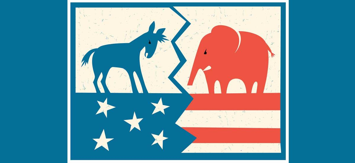 A cartoon image of the American flag split down the middle with the Democratic donkey and the Republican elephant facing each other