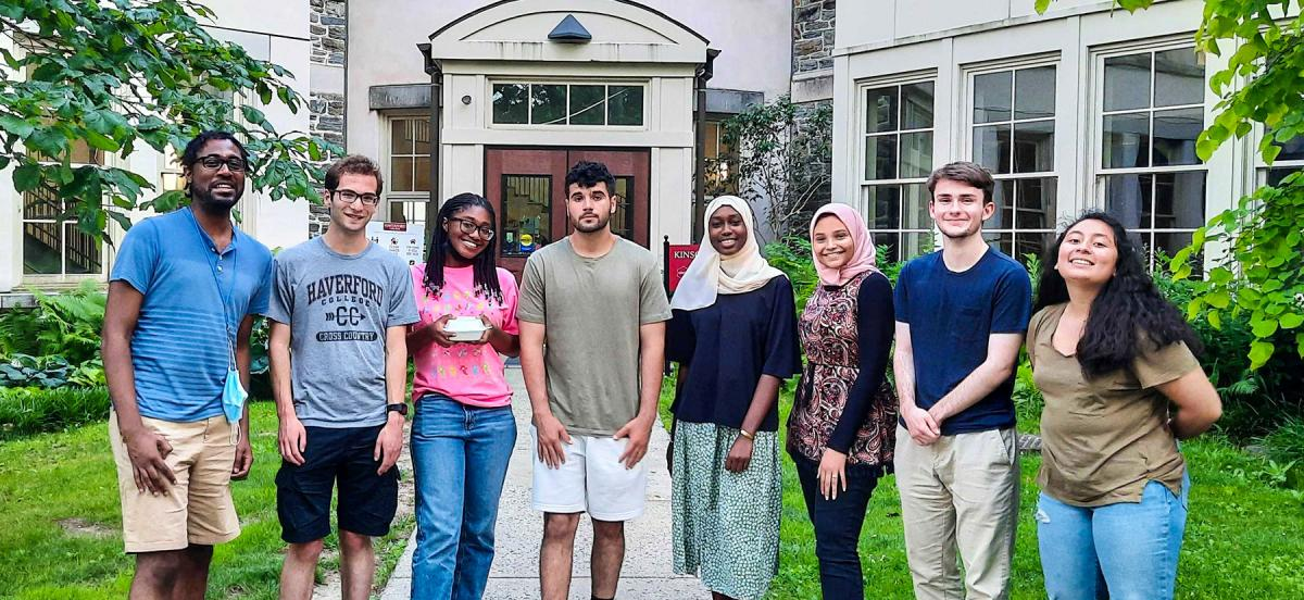 A group photo of Professor Clyde Daly's student lab assistants.