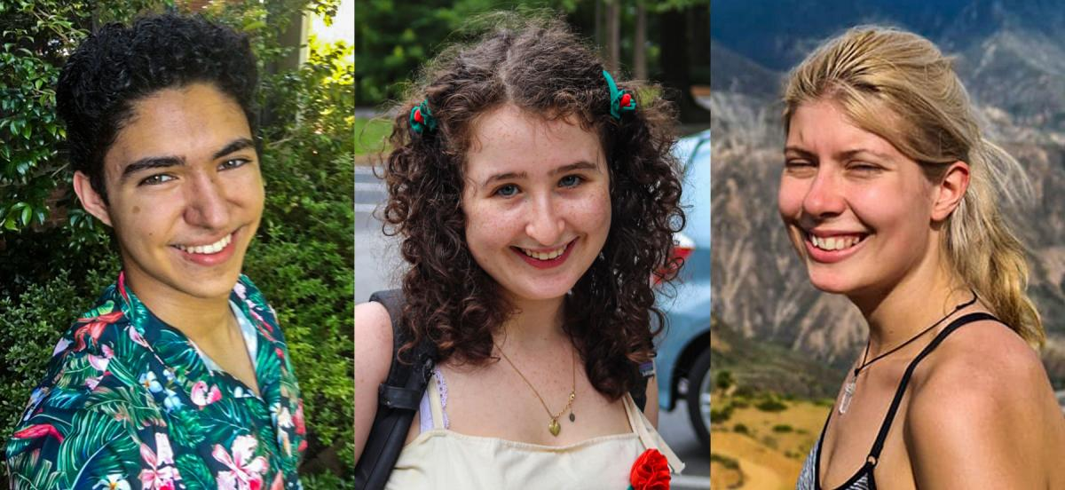 A collage of three photos, one of each of the interns--Naren, Emma, and Alexa.
