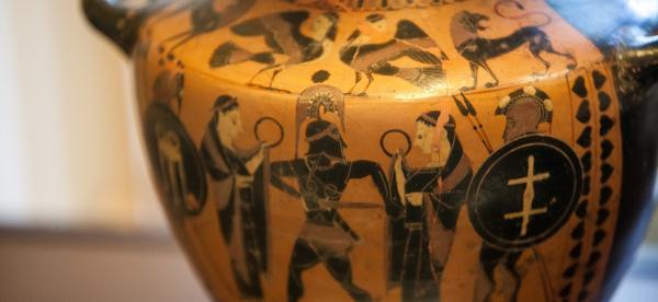Close up of a Greek vase