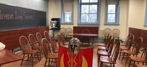a roman shield and helment in the classroom