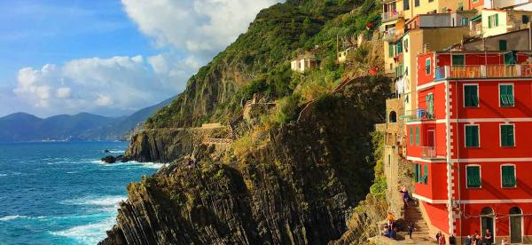 Houses on the Cliffs of Riomaggiore, Italy