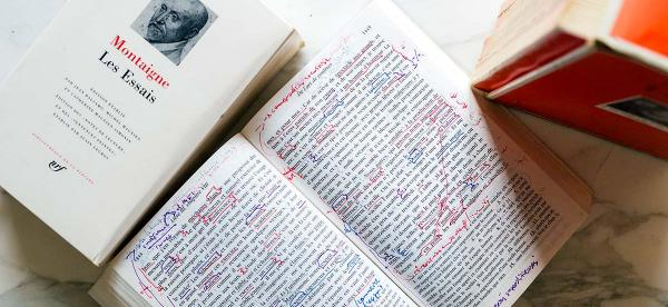 montaigne les essais with handwritten notes