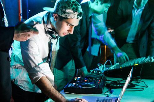 DJ Ash Khayami '16 at the turntables