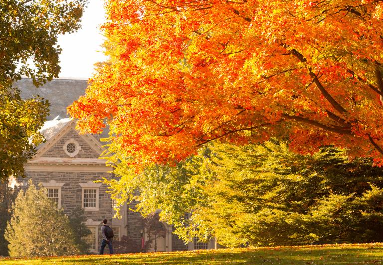 Haverford's campus in fall