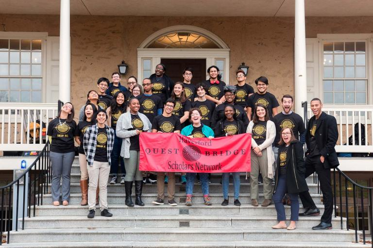 Questbridge Scholars and Admission staff together on Founders Hall porch